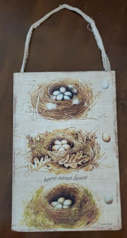 Marjolein Bastin wall hanging, home sweet home, birds nests, metal/tin, used