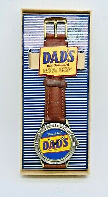 Vintage Style DAD'S Old Fashioned Root Beer Watch, Brown Leather, Original Box