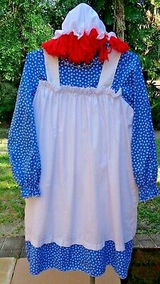 Nice 5 Pc Adult Raggedy Ann Costume w/Apron,Pantaloons,Wig,Stockings: Fits Most](Raggedy Ann Wigs Adults)
