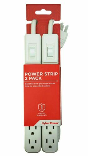 CyberPower 6-Outlet Power Strip with 2ft. Cord Twin Pack *MP1044NN