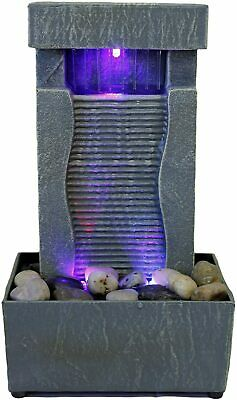 Tabletop Water Fountain Indoor Waterfall Color Changing LED Light Rainfall Relax