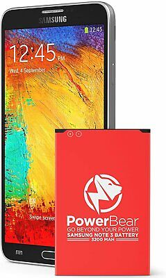 POWERBEAR HI-CAPACITY REPLACEMENT BATTERY FOR SAMSUNG NOTE 3 Li-ION 3200mAh NEW
