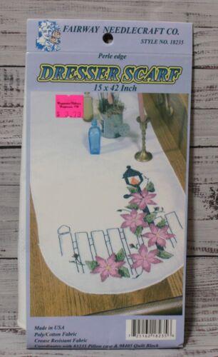 FLORAL PERLE EDGE DRESSER SCARF stamped embroidery FAIRWAY NEEDLECRAFT New