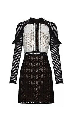 SELF-PORTRAIT Geometric Monochrome Lace Mini Dress Size 4](Geometric Portrait)