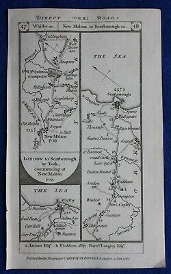 Original antique road map YORKSHIRE, SCARBOROUGH, WHITBY, YORK, Paterson, 1785