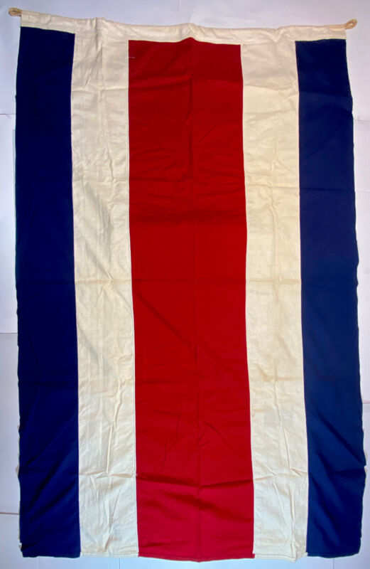 Costa Rica  Ensign Nautical Flag Wool  WWII 4' X 6' Vintage Maritime Navy Large
