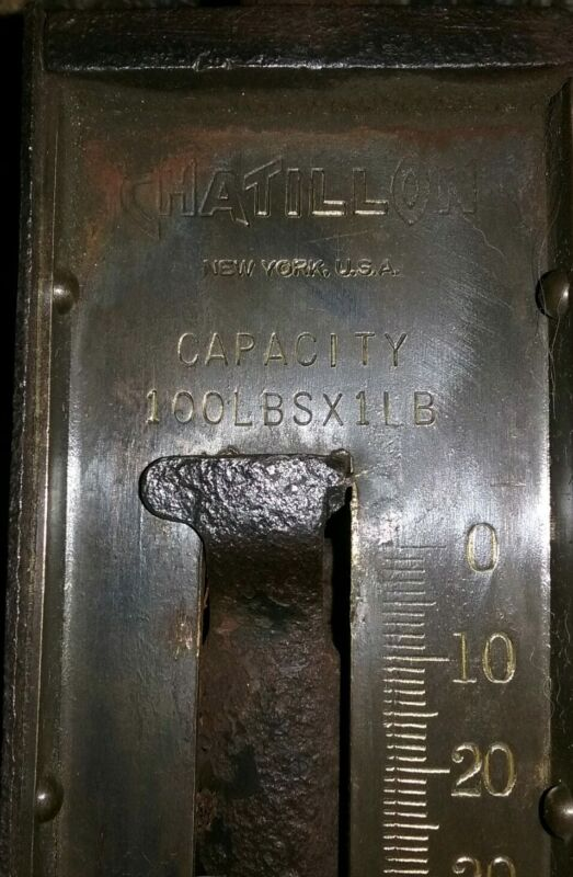 """Antique  """"CHATILLON'S"""" Brass & Iron 100 lb. Spring Hanging Scale Type-160"""