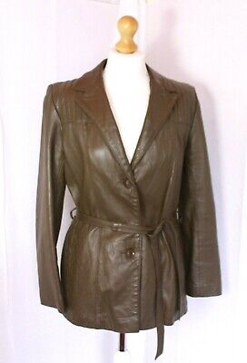 Fabulous VINTAGE 90s SOFT LEATHER JACKET size 14, belted, quality leather brown.