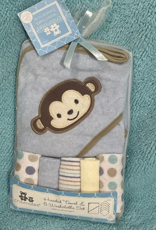 Cribmates Blue Monkey Hooded Towel & 5 Washcloths Infant Set 0+months NEW
