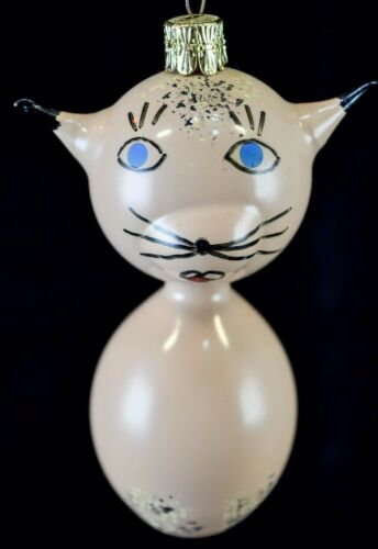 Vintage Glass Hand Painted Czechoslovakian Christmas Ornament Kitty Cat