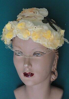 Vintage Yellow Hat 50s Silk Flowers
