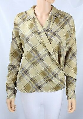 L Ralph Lauren Plaid Crepe Wrap Shirt size Small ()