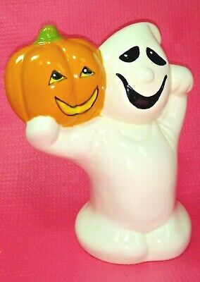 Vintage Halloween Handmade Ceramic Ghost With Pumpkin Excellent Condition