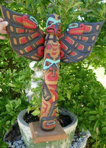 "Signed Myron Barnes (Tlingit) Native Hand Carved Poly-chrome Totem - 24.5"" Tall"