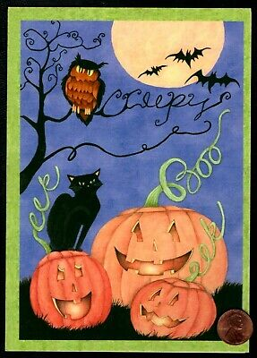 SUSAN WINGET Owl Black Cat Bats Pumpkins Moon Boo - Halloween Greeting Card - Black Cat Greeting Cards