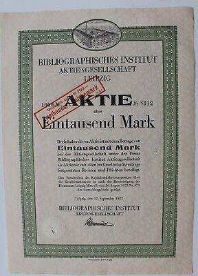 29404 Aktie 1000 Reichsmark  Bibliographisches Instutut Leipzig AG 1922 Bücher