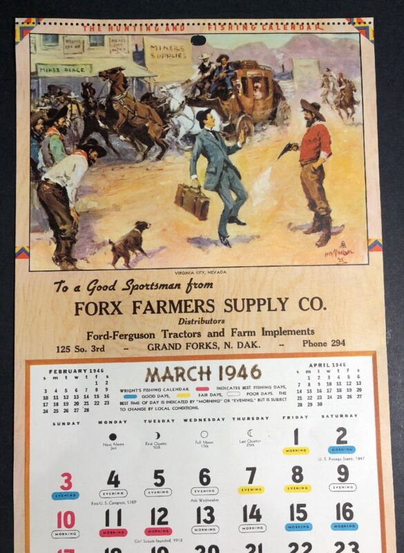 Cowboy 1946 Calendar Page Sign Farmer Supply Grand Forks North Dakota