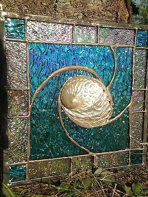 """Stained Glass Abalone Shell Suncatcher Panel Tiffany Style  9"""" x 9"""" OOAK"""