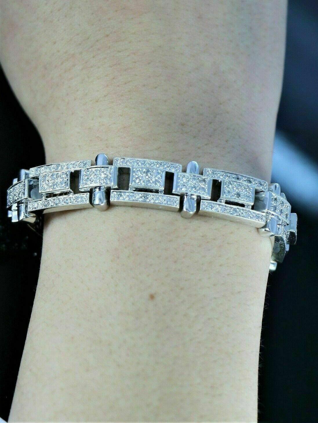 13.25Ct Round Cut Diamond 14K White Gold Over Men's Exclusive Tennis Bracelet 6