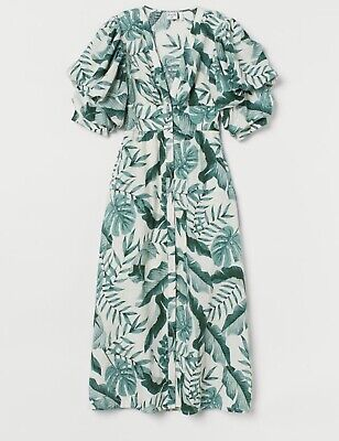 Johanna Ortiz X H&M Leaf Print Linen Dress UK12 EU40 US8 BNWT _ Sold out!