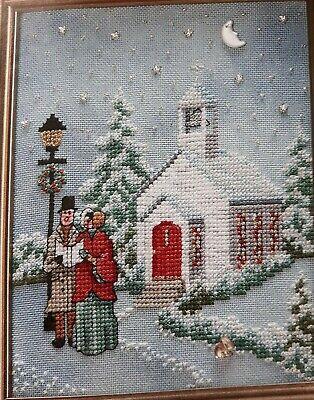 "Cross Stitch ""TWILIGHT CAROL SERVICE"" pattern ~ Christmas, church, lamp post"