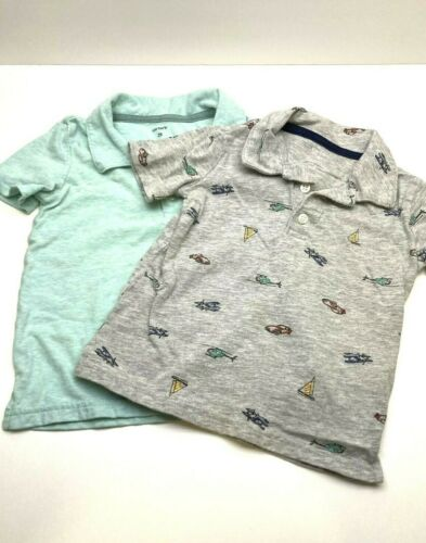 2 Carters Toddler Size 2T Polo Shirts Blue Gray SailBoat Plane Car Short Sleeve