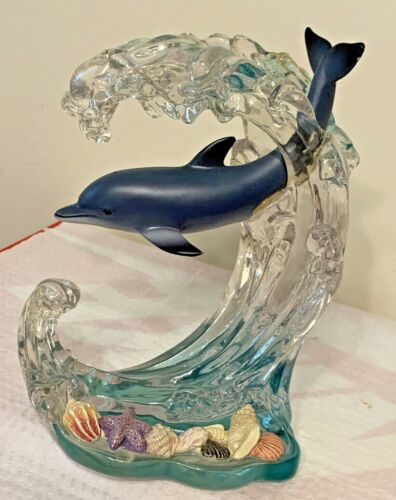 Dolphin In Wave with Seashells Acrylic Lenox 2000