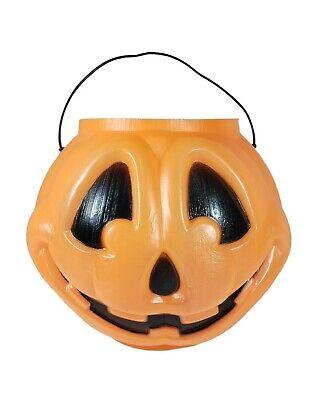 General Foam Blow Mold Pumpkin Textured Pail Halloween Bucket Jack-O-Lantern USA