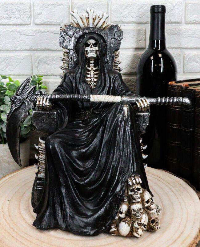 "Black Holy Death Grim Reaper Sitting On Skeleton Skull Throne Figurine 10.5""H"