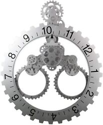 Gear Wall Clock, with 3D Moving Gears, 26 x 22 inches, Large Quartz Movement