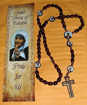 SAINT MOTHER TERESA CALCUTTA Wood 18in ROSARY / PRAYER w/bookmark GIFT - 18in Wood
