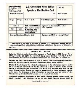 Blank Sf 46 Us Govt Motor Vehicle Operator 39 S Id Card Drivers License Rev 1977 Ebay