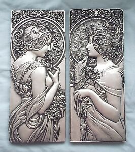 Larger Art Nouveau /deco mucha style plaster wall plaques silver effect