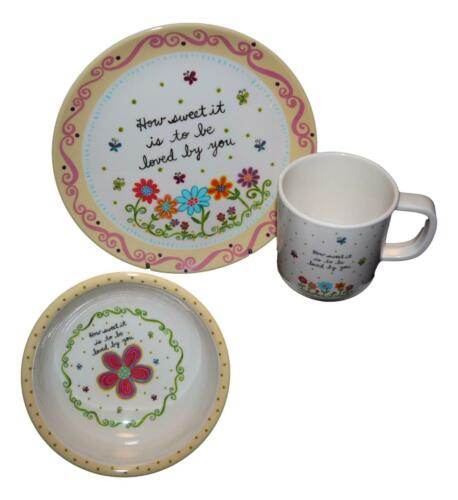 Natural Life Baby and Kids 3 Piece Dish Set How Sweet It Is To Be Loved By You