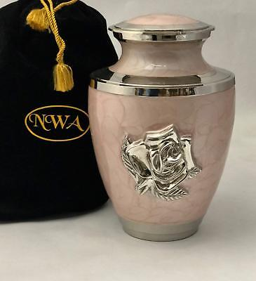 Pink Rose Cremation Urn, Large Rose Flower Funeral Urn, Container, Burial urn w