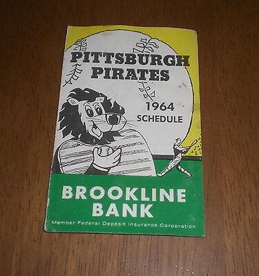 1964 Pittsburgh Pirates Schedule   Original   Brookline Bank