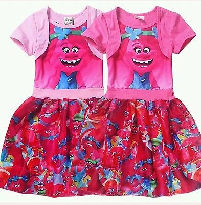 New Trolls Kids Girls Short Sleeve Princess Dress Casual Party Cosplay Custume