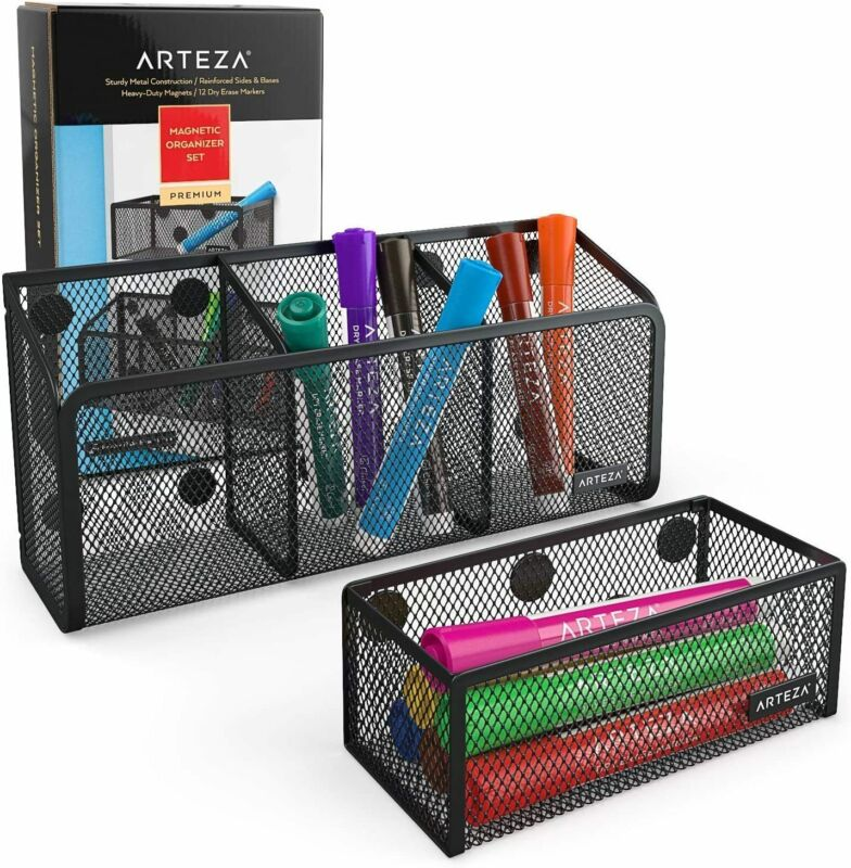 ARTEZA Mesh Magnetic Organizers with Dry Erase Markers