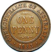 old vintage one penny coin 1933 Footscray Maribyrnong Area Preview