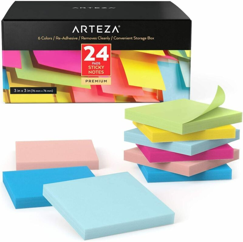 ARTEZA Sticky Notes, Assorted Colors, 100 Sheets, Pack of 24