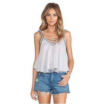 NEW $128 Free People Coasting On a Dream Top Size XS Dolphin Blue