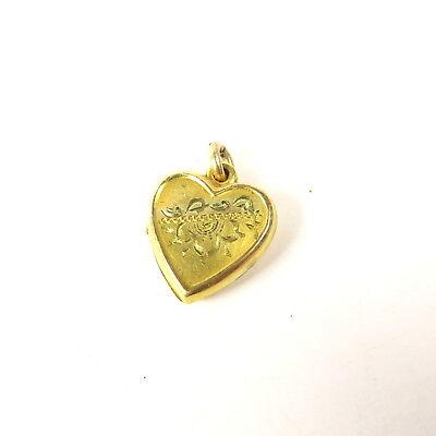 - VINTAGE LA MODE GOLD FILL PETITE HEART SHAPED PHOTO LOCKET CHARM ENGRAVED DESIGN
