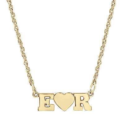 Custom Made Nameplate W Heart Necklace select any two letters in Yellow Gold  Yellow Gold Nameplate Necklace