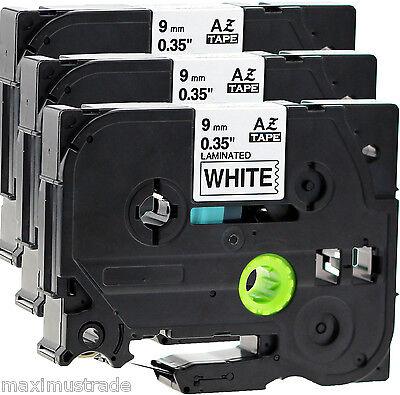 3x Schriftbandkassette kompatibel für Brother TZe-221 9mm schwarz auf weiß