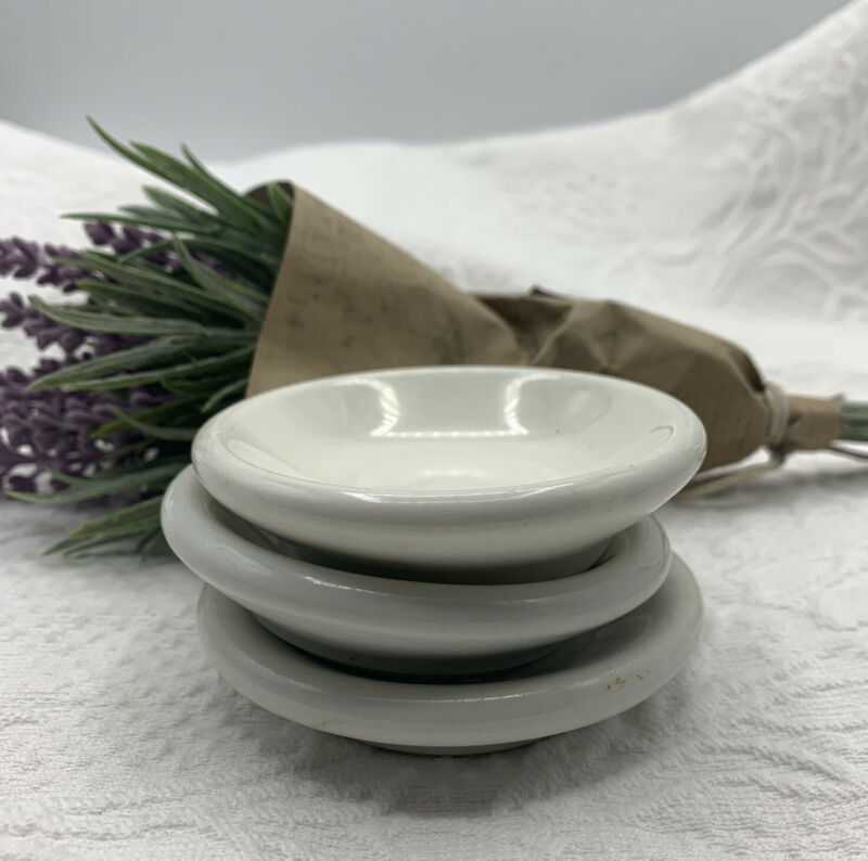 Antique FARMHOUSE Round CHUNKY White IRONSTONE BUTTER PATS **Rustic PATINA**