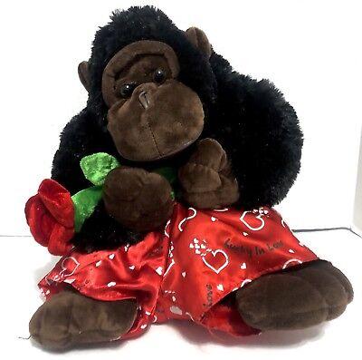 "🌹17"" Lucky In Love Gorilla Holding a Rose Romance Valentine Plush Harambe"