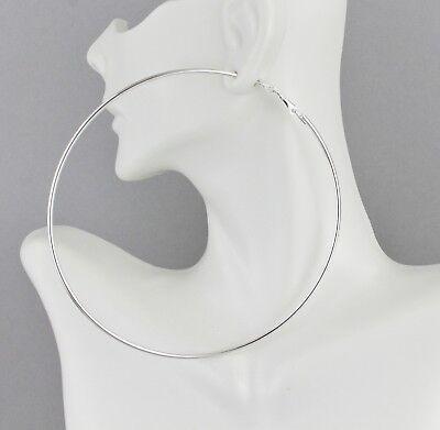 Silver hoop earrings Big Huge Giant 3.75
