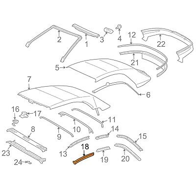For Toyota Genuine Convertible Top Seal Front Right 6238106040