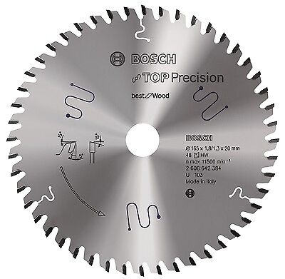 Bosch Kreissägeblatt 165mm 48WZ Best for Wood 165x20mm Sehr feiner Schnitt
