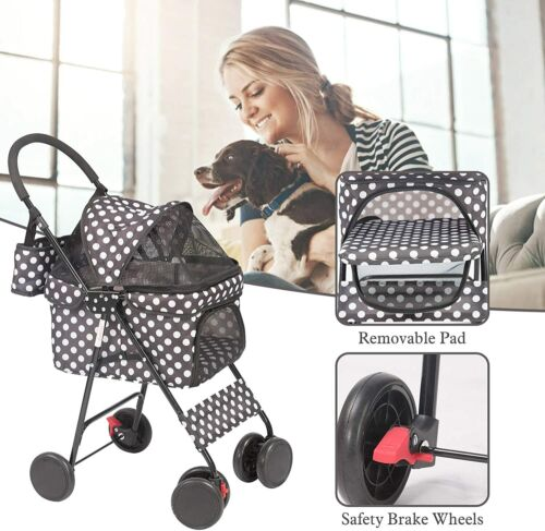 Livebest Folding Dog Stroller Travel Cage Pet Cat Kitten Puppy Carriages 4 Wheel